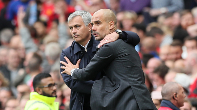 Jose Mourinho, pictured left, and Pep Guardiola, right, will do battle in the EFL Cup