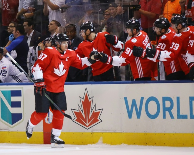 Sidney Crosby of Team Canada celebrates his first period goal against Team Europe at the World Cup of Hockey in Toronto, Canada