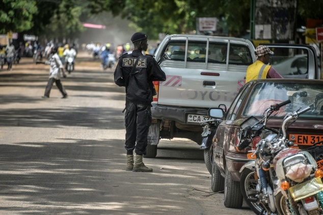 A Cameroonian policeman patrols in Maroua, in the extreme northern province, west of the Nigerian border, on September 16, 2016