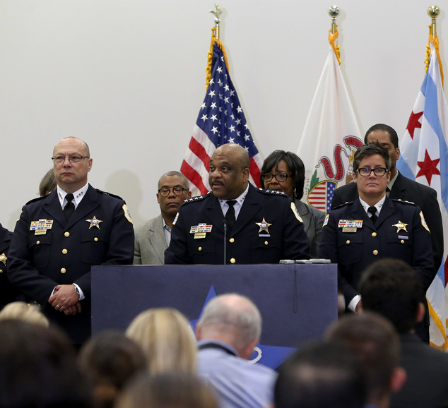 Chicago Police Superintendent Eddie Johnson, center, speaks during a news conference Wednesday, Sept. 21, 2016, in Chicago. Chicago's police department will ...