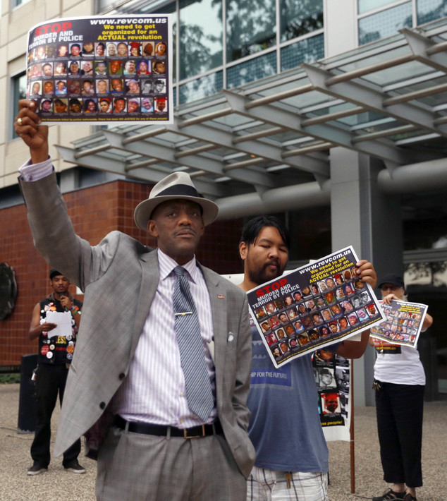 Protestors against the new hiring plan by the Chicago Police Department protest outside the headquarters Wednesday, Sept. 21, 2016, in Chicago. Chicago's pol...
