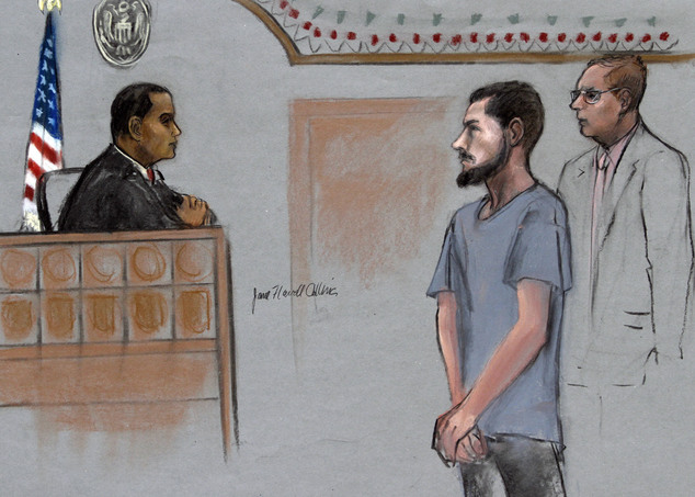 A courtroom sketch from June 12 2015 depicts, Nicholas Rovinski, second from right, of standing with his attorney William Fick, right, as Magistrate Judge Donald Cabell, left, presides during a hearing in federal court in Boston. In a change-of-plea hearing on Thursday he pled guilty to multiple federal charges including conspiracy to commit acts of terrorism