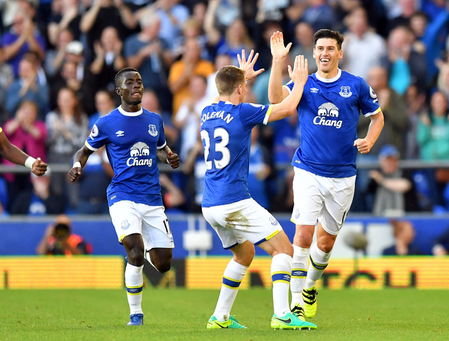 Everton's Gareth Barry, right, celebrates scoring his side's first goal of the game with teammates, during the English Premier League soccer match between Ev...