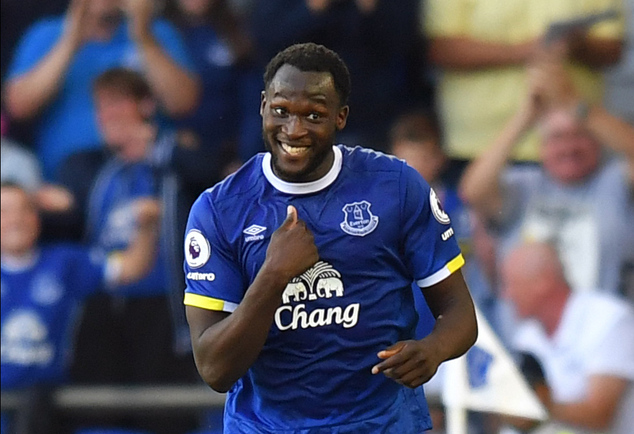 Everton's Romelu Lukaku celebrates scoring his side's third goal of the game during the English Premier League soccer match between Everton and Middlesbrough...