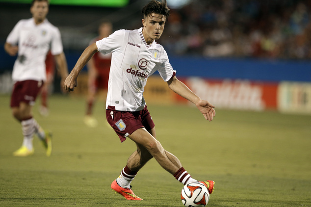 FILE - In this July 23, 2014 file picture, Aston Villa forward Jack Grealish controls the ball against FC Dallas during an international friendly soccer matc...