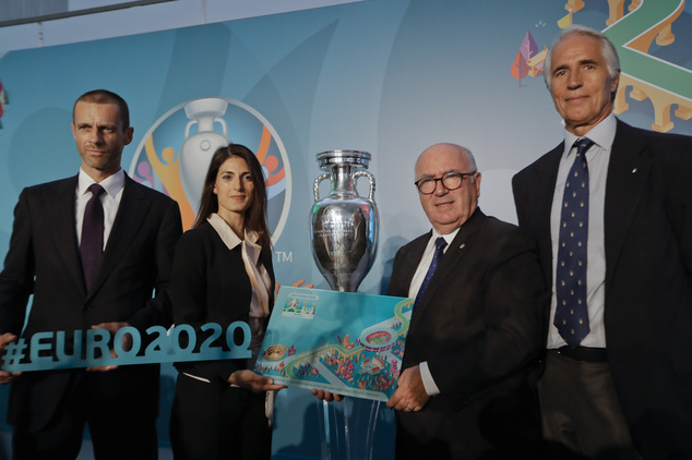 From left, Uefa president Aleksander Ceferin, Rome mayor Virginia Raggi, Italian soccer federation president Carlo Tavecchio and Italian olympic committee pr...