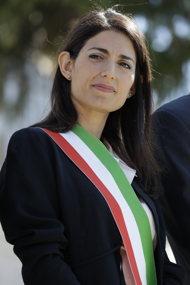 Rome's mayor Virginia Raggi attends a press conference to present the reopening on the world-famous Spanish Steps at the end of 10 months of restoration work...