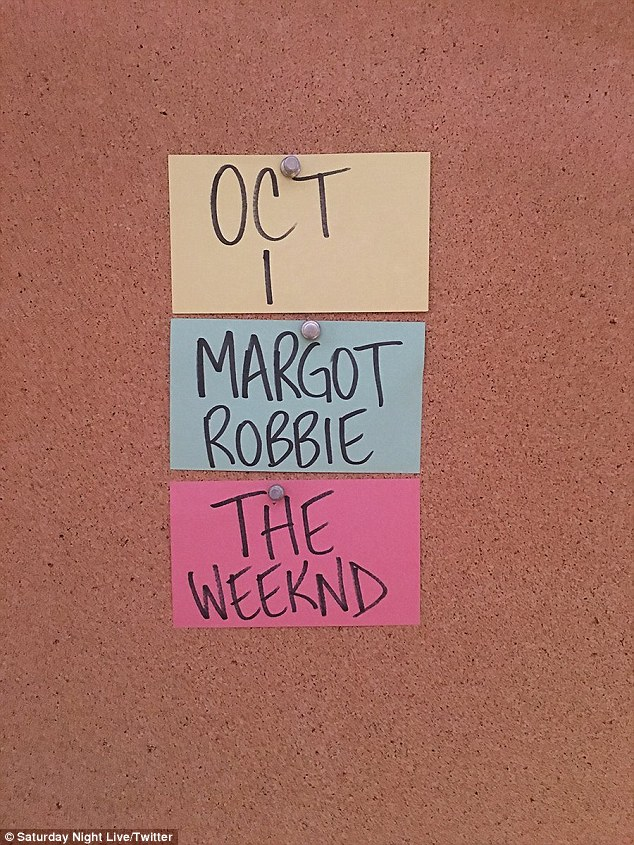 Breaking the news: The official Twitter account for SNL posted a photo on Thursday of notes tacked to a board revealing the host and musical guest's identity