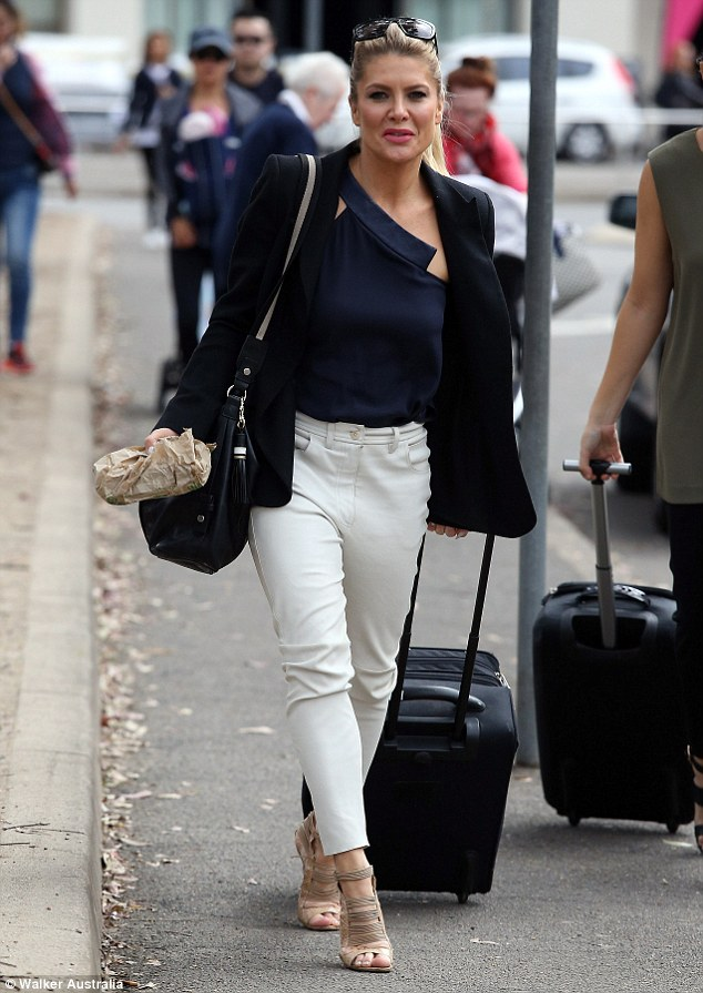 Effortlessly chic: Natalie Bassingthwaighte looked simply flawless arriving at the Essential Baby and Toddler Show at Hordern Pavilion in Moore Park, Sydney on Friday
