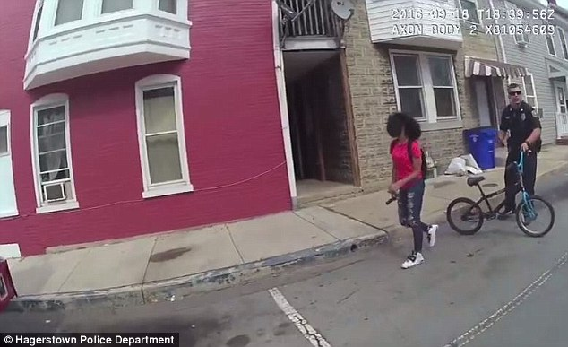 While officers were questioning her, she appeared to walk away at one point