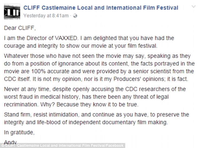 Mr Wakefield even emailed CLIFF organisers thanking them for having the 'courage and integrity' to screen his film. It was posted to the festival's Facebook page
