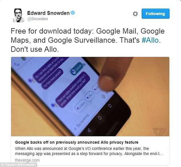 The start warning about Google's new Allo app was given by Edward Snowden on Twitter