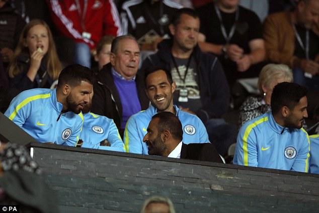 Sergio Aguero (left) returns for Manchester City having served his domestic suspension