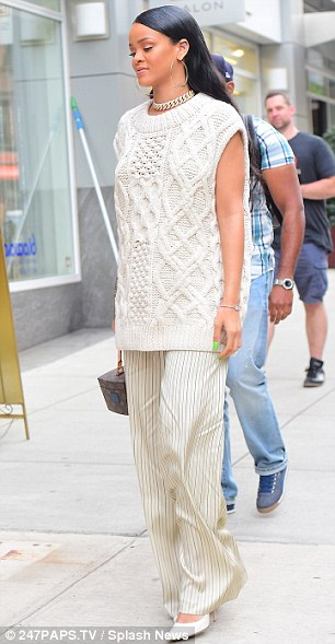 Seriously stylish: Rihanna wore the trendy ensemble to a business meeting earlier in the day