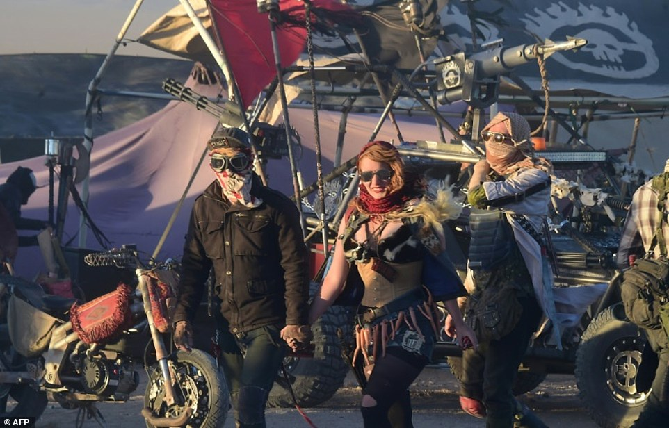 Elaborate sets at Wasteland Weekend are meant to replicate a post-apocalyptic world while live bands, DJs and stunt performers carry on into the small hours