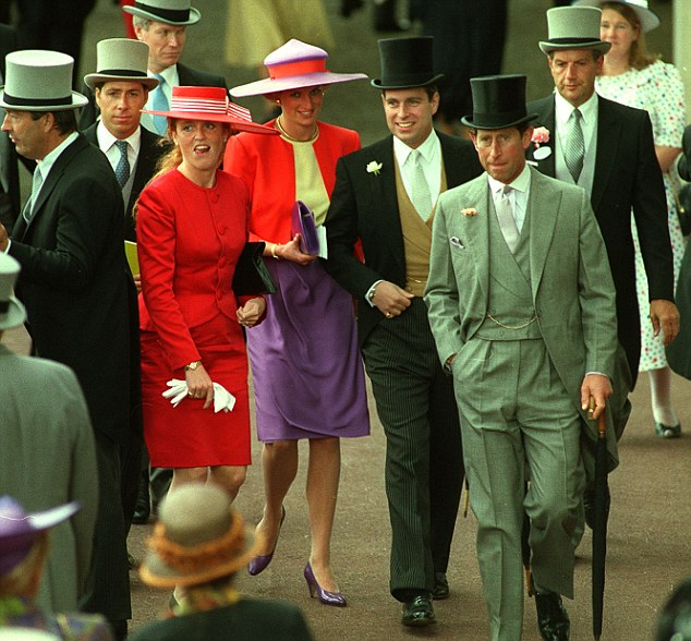 Fergie and Prince Andrew with Chalrles and Diana at Ascot. The Duchess said of Diana: 'She was so naughty...We laughed incessantly'