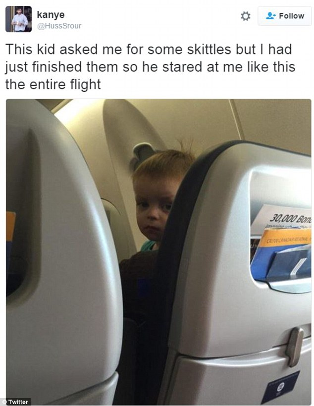 One man revealed how a little boy in the seat in front gave him evils for an entire plane journey because he had finished all the Skittles