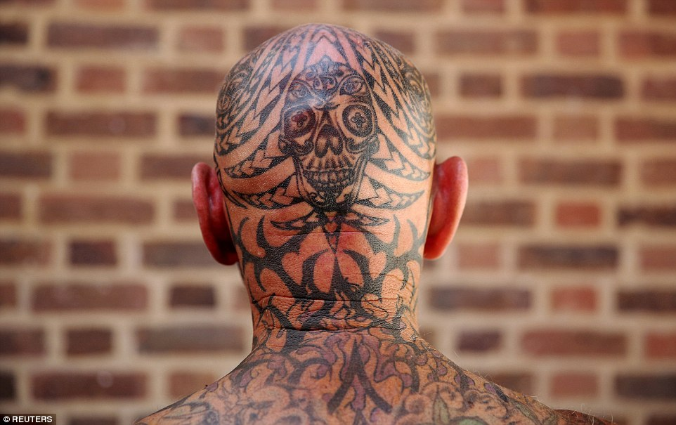 Why not have a skull tattooed on your skull? This was just one of the weird and wacky designs on display at the convention