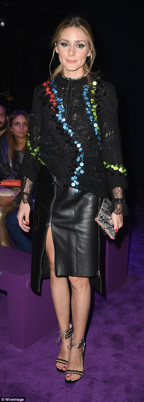 Sequin sisters: Olivia Palermo wowed in heavily embellished Versace garments to watch the show