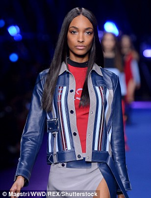 She's Dunn it again! Jourdan Dunn stormed the runway in a navy leather jacket and tight red T-shirt
