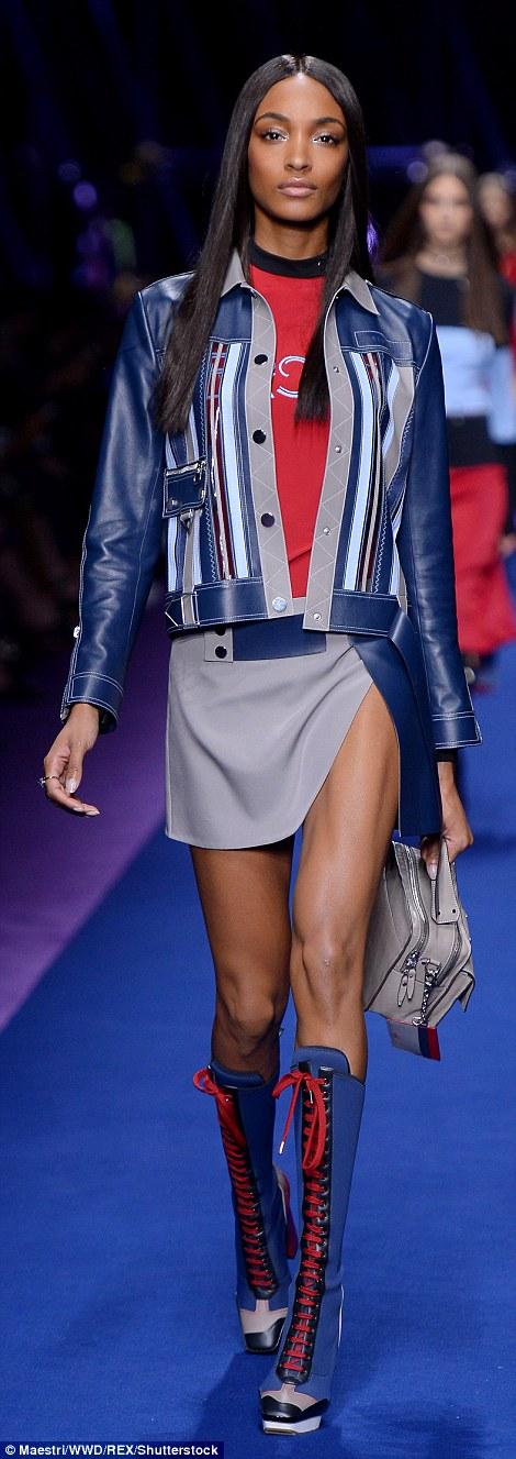 Leggy lady! The supermodel flaunted her pins in a mini skirt with a dangerously high split
