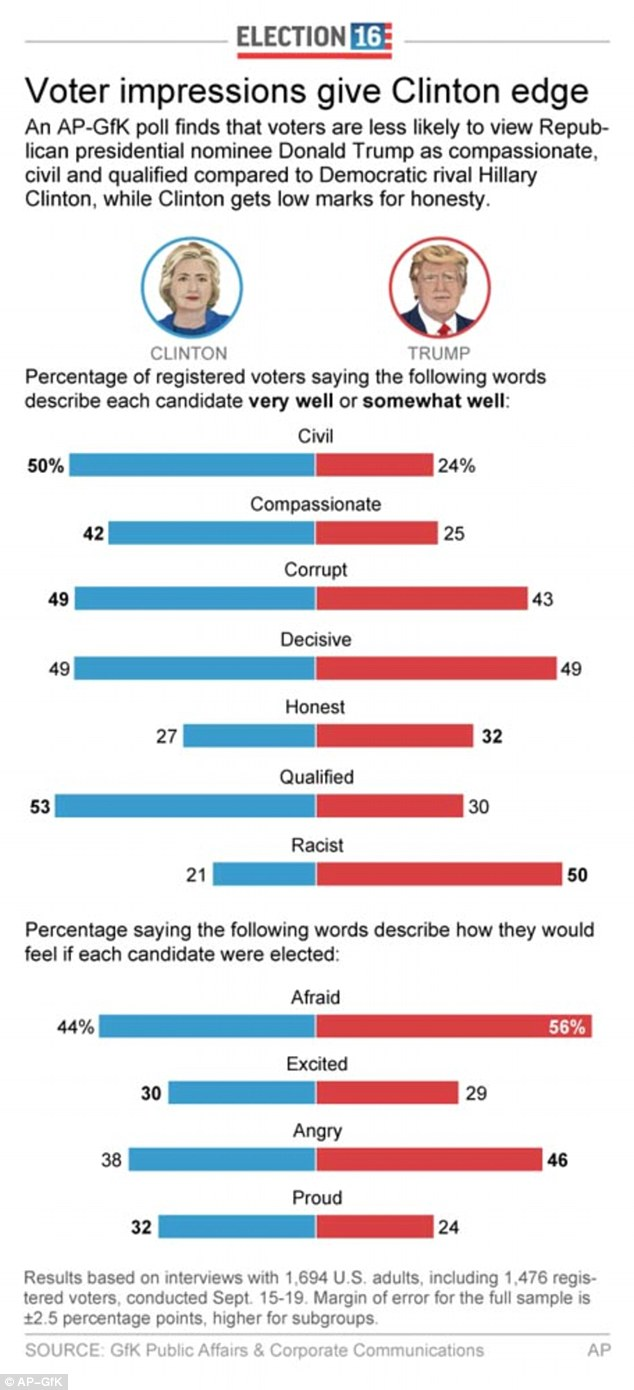 An infographic shows how voters perceive the two presidential candidates