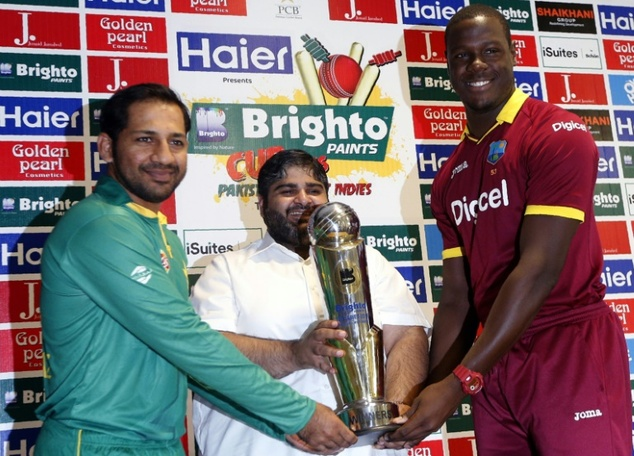 Pakistan's T20I captain Sarfraz Ahmed (left) poses with West Indies' T20I captain Carlos Brathwaite during a press conference ahead of the T20 international ...