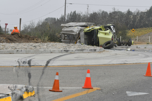 Skid marks lead to the scene of a rollover crash of a water tanker truck near Vandenberg Air Force base that took the life of a Ventura County Fire Dept. fir...