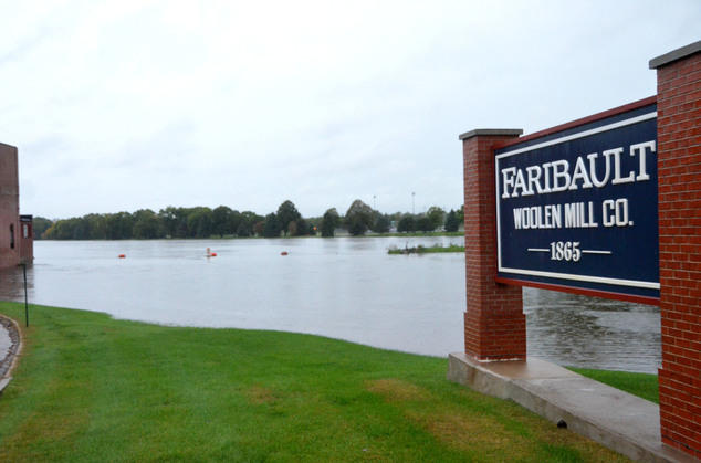 The Faribault Woolen Mill dam in Faribault, Minn., is completely underwater on Thursday, Sept 22, 2016, after much of southern Minnesota saw upward of 5 inch...