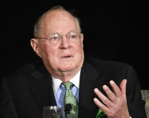 FILE - In this July 15, 2015 file photo, Supreme Court Justice Anthony Kennedy speaks in San Diego. Kennedy says a willingness to change course on the bench ...