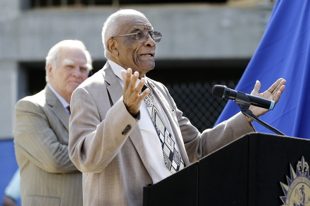FILE - In this Aug. 28, 2015 file photo, former Tennessee State and Olympic women's track coach Ed Temple speaks during the dedication of his statue in Nashv...