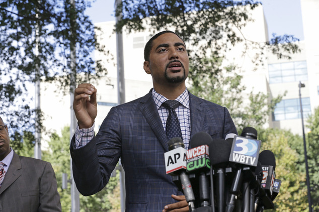 Attorney Justin Bamberg, representing the family of Keith Lamont Scott, addresses the media in Charlotte, N.C., Thursday, Sept. 22, 2016 following Tuesday's ...