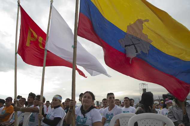 Rebels attend the closing event of the 10th conference of the Revolutionary Armed Forces of Colombia, FARC, in Yari Plains, Colombia, Friday, Sept. 23, 2016....