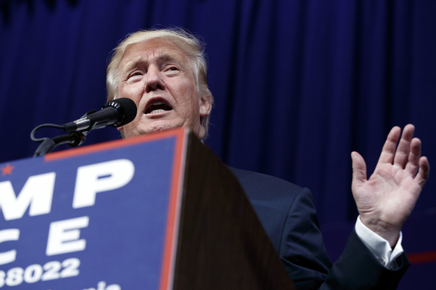 Republican presidential candidate Donald Trump speaks during a campaign rally at Sun Center Studios, Thursday, Sept. 22, 2016, in Aston, Penn. (AP Photo/ Eva...