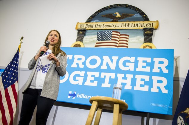 Chelsea Clinton, daughter of Democratic presidential candidate Hillary Clinton, speaks at the city's Democratic National Convention office and campaign phone...