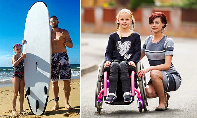 Wiltshire girl who was suddenly paralysed by a rare injury while surfing vows to walk