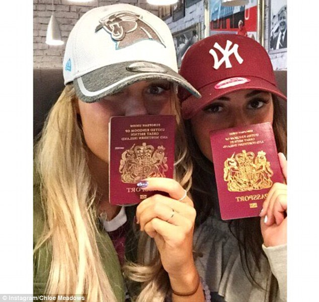 Off we go! Chloe first posted a photo of the girls at the airport in sports caps, which she captioned: 'Next adventure'