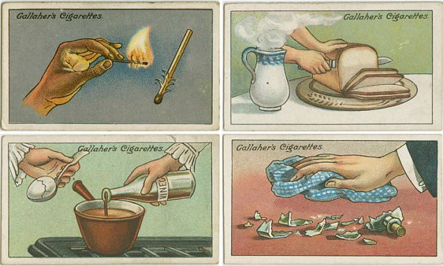 Vintage cigarette cards offer smokers clever tips including how to extract a splinter