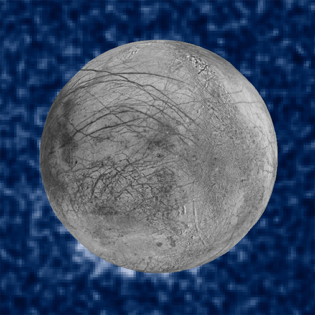 This Jan. 26, 2014 image provided by NASA shows a composite image of possible water plumes on the south pole of Jupiter's moon Europa. Europa is among severa...