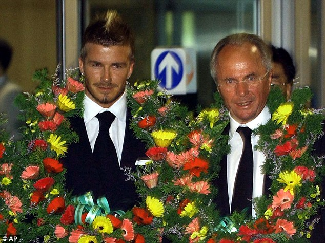 Eriksson, pictured with David Beckham, was stung by a fake sheik from the News Of The World