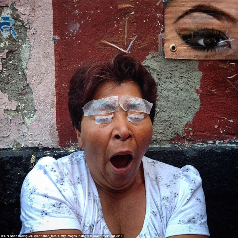 Although Mr Rodriguez won his prize for his Teen Mom series, he also took pictures on other themes. In this one a woman is getting her eyebrows ironed in the street at Zocalo, Mexico City, in front of a poster of beautifully crafted brows