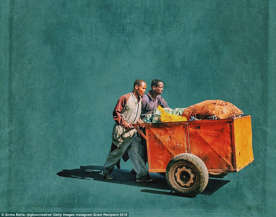 Another of Girma Berta's images, again this one uses an image of street cleaners and their brightly coloured cart, together with its shadow, on a blue background