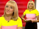 ****Ruckas Videograbs****  (01322) 861777 *IMPORTANT* Please credit the BBC for this picture. 27/09/16 BBC Breakfast Grabs from this morning's show which saw presenter Louise Minchin wearing a pink and yellow top which became a topic of conversation on social media. Viewers took to Twitter to compare her attire to a Battenberg cake, Rhubarb and Custard and the Hearts away shirt - which the show picked up on and displayed on a screen behind her. Office  (UK)  : 01322 861777 Mobile (UK)  : 07742 164 106 **IMPORTANT - PLEASE READ** The video grabs supplied by Ruckas Pictures always remain the copyright of the programme makers, we provide a service to purely capture and supply the images to the client, securing the copyright of the images will always remain the responsibility of the publisher at all times. Standard terms, conditions & minimum fees apply to our videograbs unless varied by agreement prior to publication.