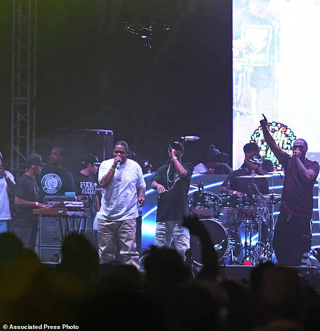 The drone is seen here approaching the stage as Bone Thugs-n-Harmony, perform during the High Life Music Festival at the High Desert Event Center