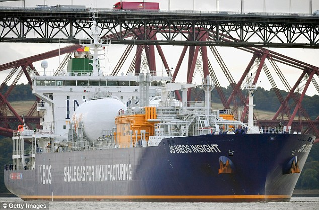 Ineos bosses said the shipment represents the culmination of a £1.6billion ($2billion) investment, with eight tankers creating a virtual pipeline from America