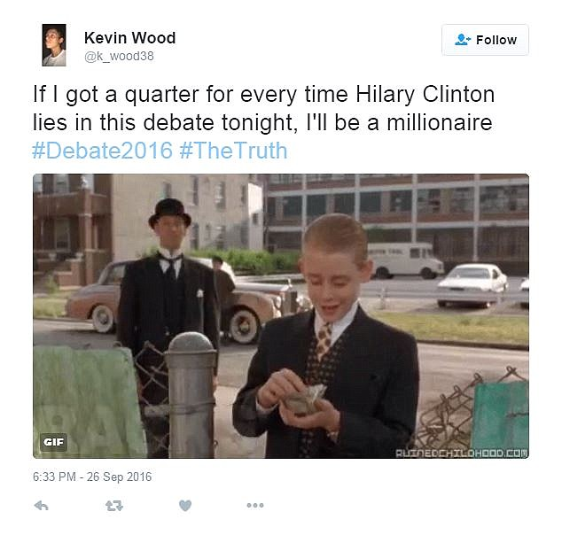 Kevin Wood tweeted a gif of Macaulay Culkin splashing some cash in a jibe at Clinton