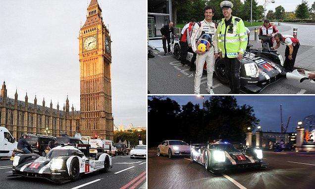 Police escort 200mph Porsche 919 Le Mans through central London