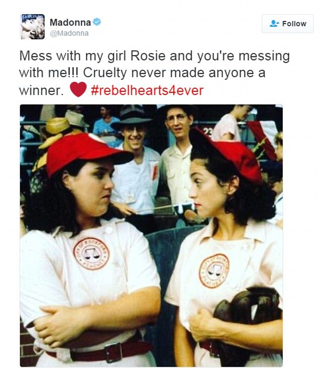 Madonna showed her support for O'Donnell with this throwback picture. She wrote: 'Mess with my girl Rosie and you're messing with me!!!'