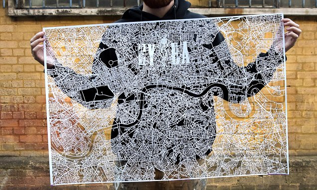Artist Nils Westergard spends 104 hours carving a map of London from a piece of paper