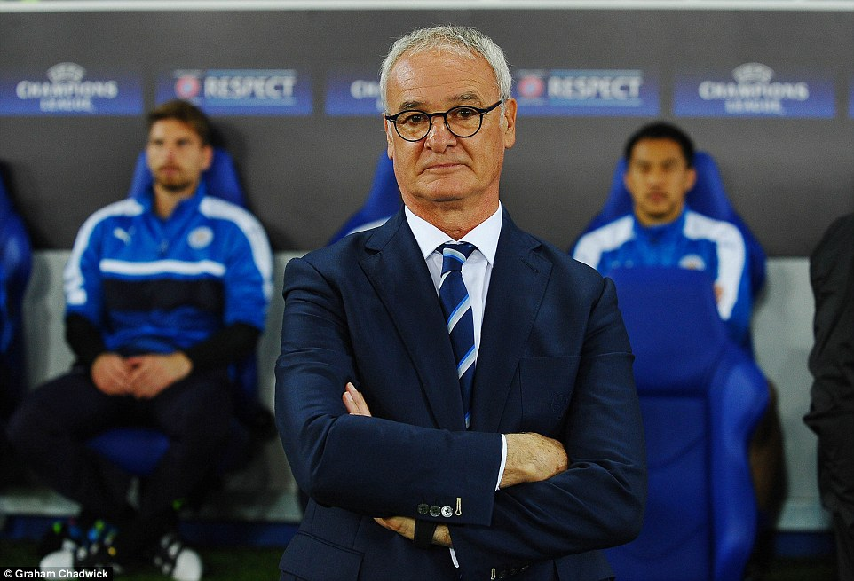 Leicester's eccentric manager Claudio Ranieri pulls a deadpan expression as he watches from the sidelines